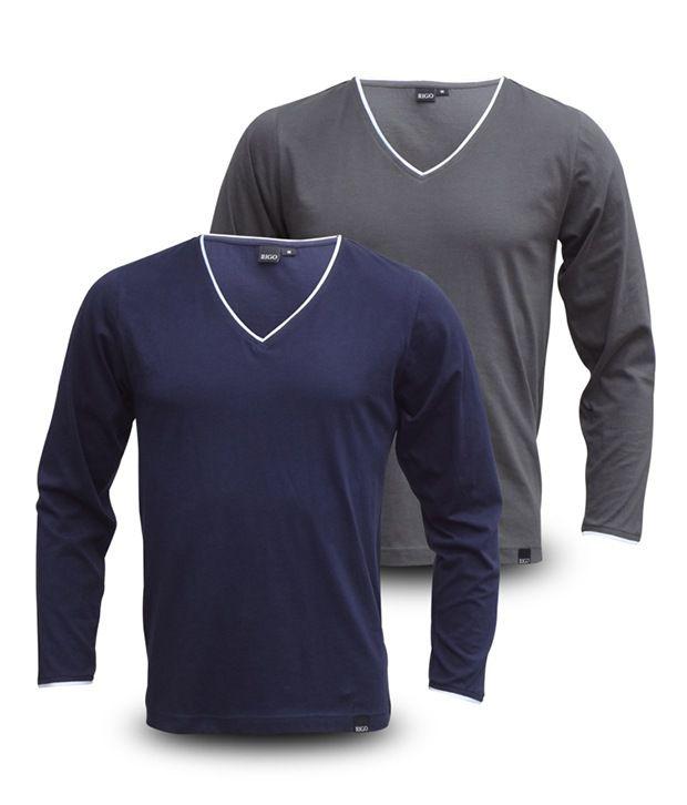 Rigo Pack Of Grey-Navy V-Neck Full Sleeve T Shirts