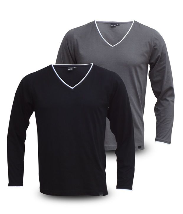 Rigo Pack Of Grey-Black V-Neck Full Sleeve T Shirts