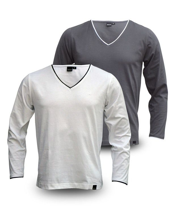 Rigo Pack Of Grey-White V-Neck Full Sleeve T Shirts
