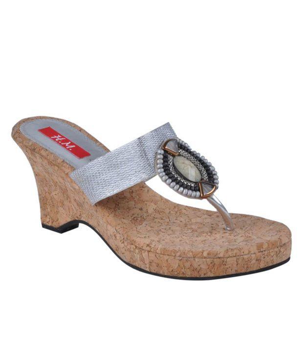 HM Glittering Silver Slip-on Heels