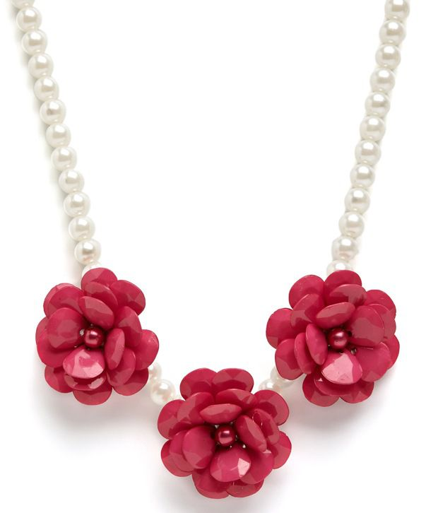 Hopscotch Floral And Pearl Embellsihed Necklace