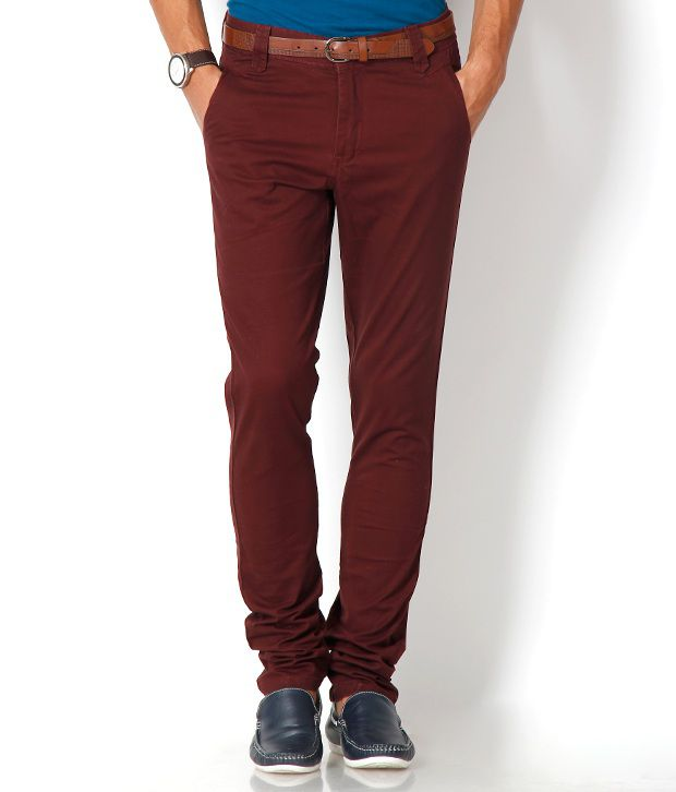 Urban Navy Maroon Chinos With Free Belt