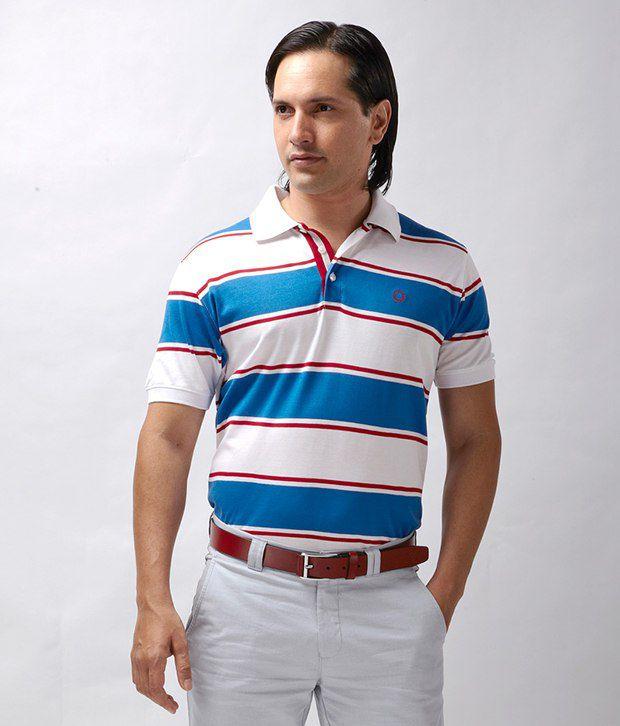 Proline Trendy White-Blue Striped Polo T Shirt
