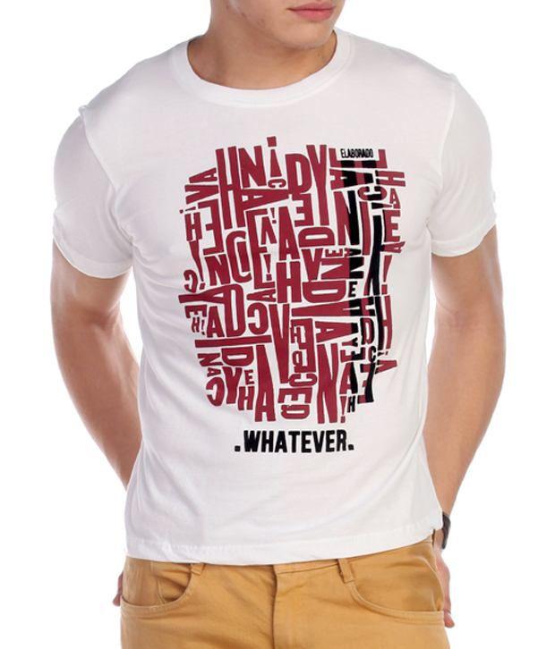 Elaborado Whatever White Printed T-Shirt