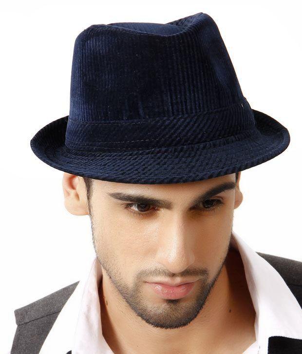 Alvaro Velvety Blue Corduroy Hat