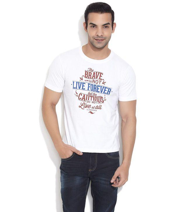 Elaborado White Live Forever Typo T- Shirt