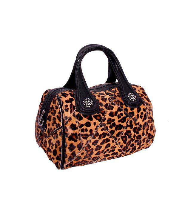 Khoobsurti Brown Ecstatic Tiger Print Handbags