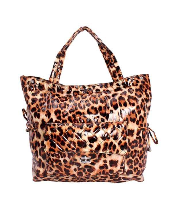 Khoobsurti Brown Lavish Tiger Print Tote Handbags