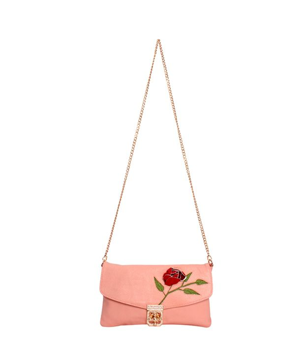 Khoobsurti Divine Clutch with Rose Embed Clutch - Pink