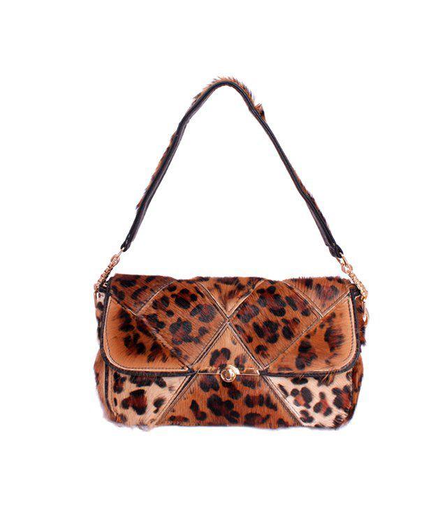 Khoobsurti Brown Pretty Stylish Tiger Print Handbags