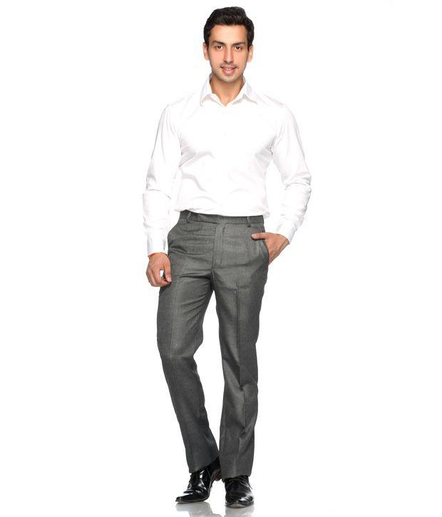 Praado Grey Linen Slim Fit Trousers