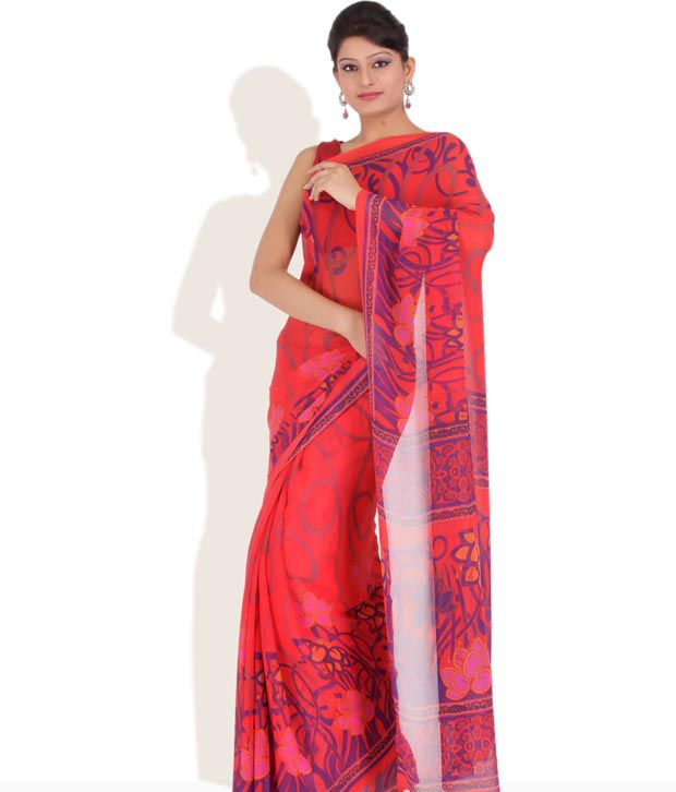 CHHABRA555 Red Printed Faux Georgette Saree With Unstitched Blouse