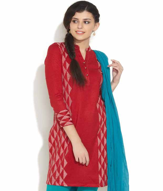 Aurelia Red Floral Embroidery Kurta