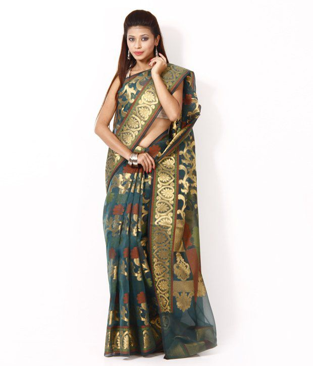Avishi Teal Blue Banarasi Faux Organza Saree With Unstitched Blouse