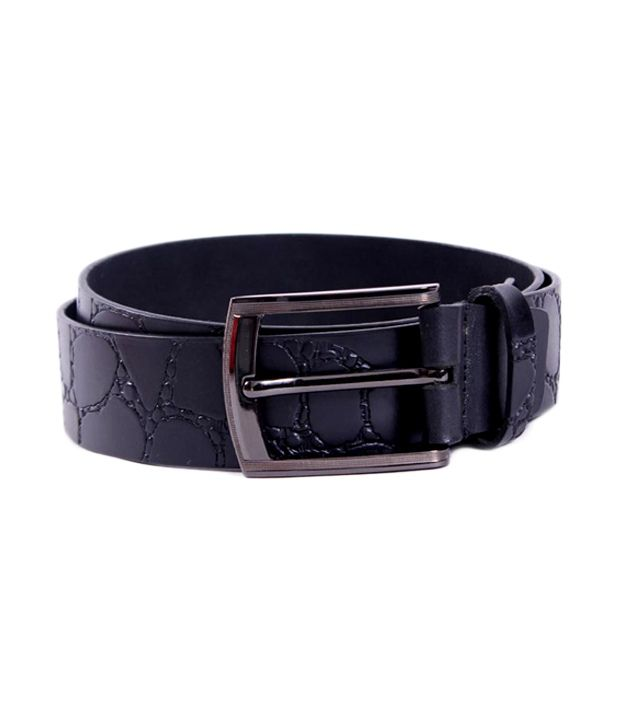 Pacific Gold Classy Black Leather Belt