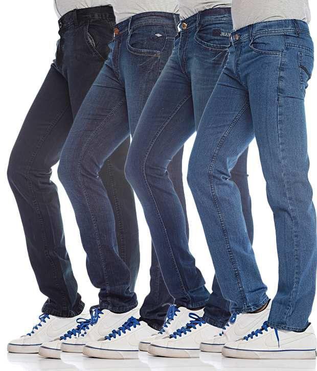 Photon Jeans Combo of 4 Men's Blue Jeans