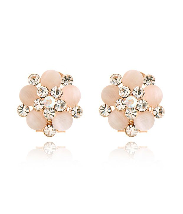 Everything Importedgenuine diamond flower earrings - White