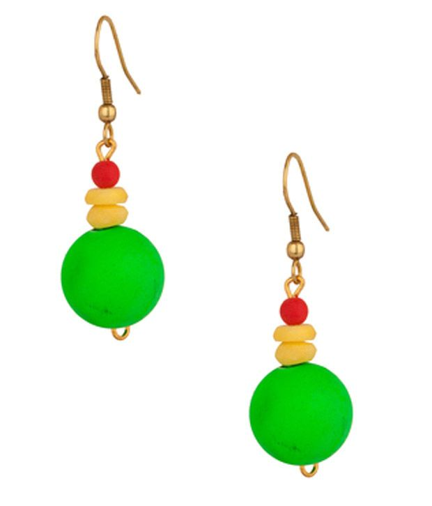 Voylla Drop Earrings With Dangling Green Balls