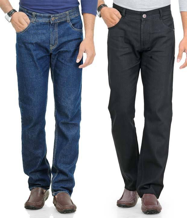 Phoenix Navy-Black Pack Of 2 Cotton Jeans