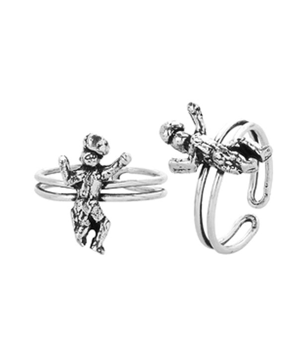 Voylla Silver Plated Toe Rings With Dancing Human Theme