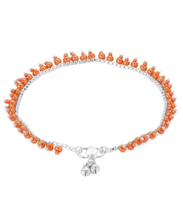Voylla Stylish Orange Bead Anklet