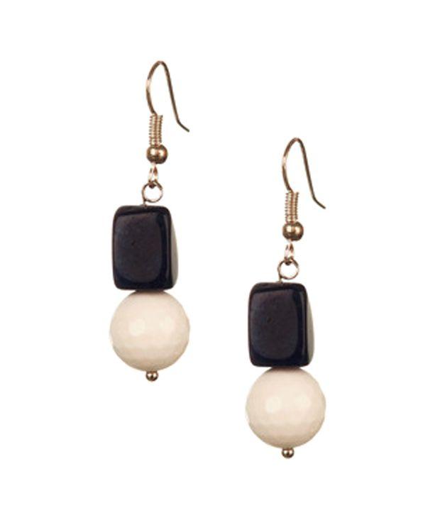 Voylla Stylish White And Blue Jade Earrings