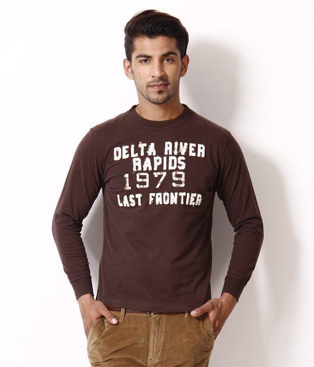 Uv w brown printed round neck t shirt buy uv w brown for Uv t shirt printing