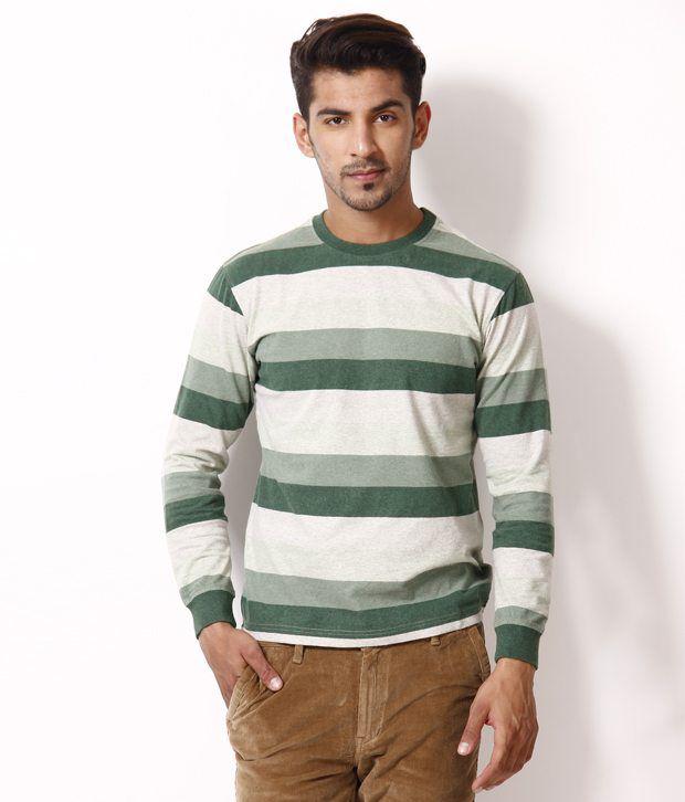 UV & W Green Striped Round Neck T Shirt
