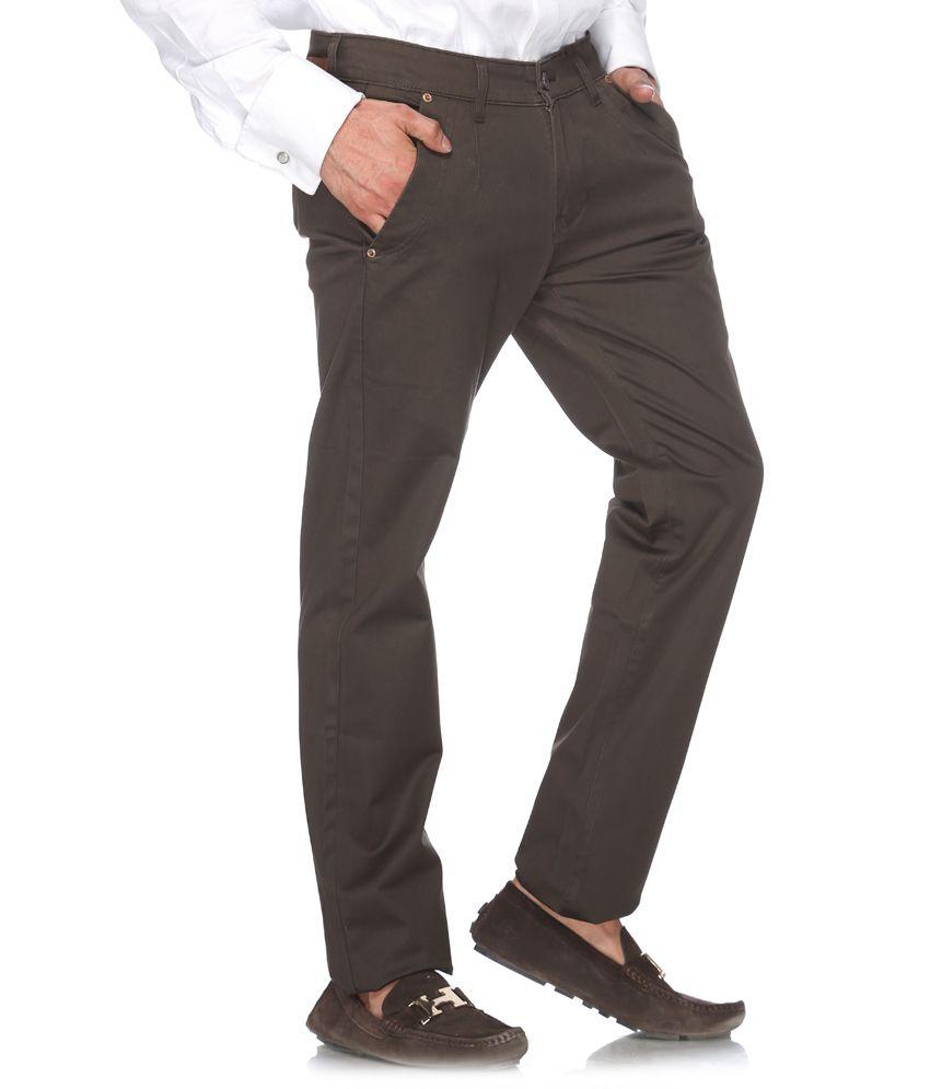 Fever Dark Brown Casual Trouser