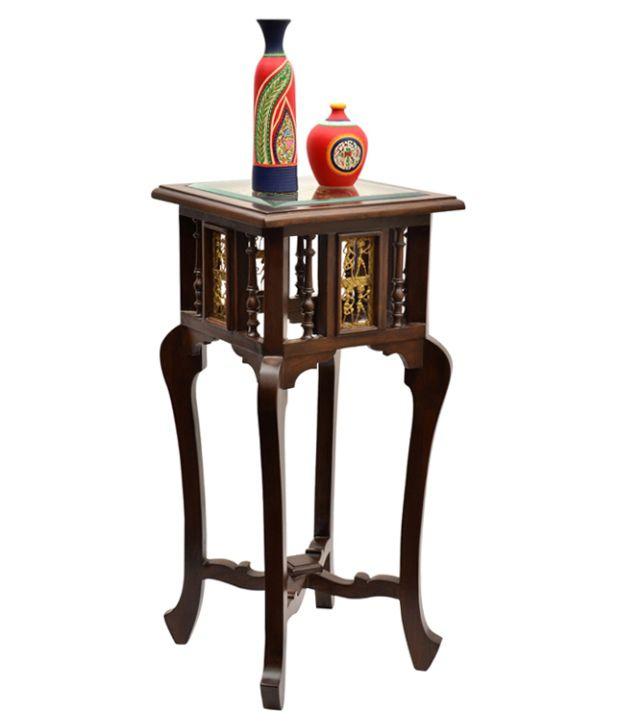 ExclusiveLaneTeak Wood Corner Table With Dhokra and Warli Work
