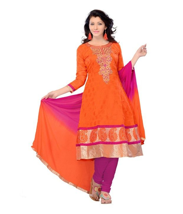 Fabdeal Orange Color Chanderi Silk Semi-Stitched Suit