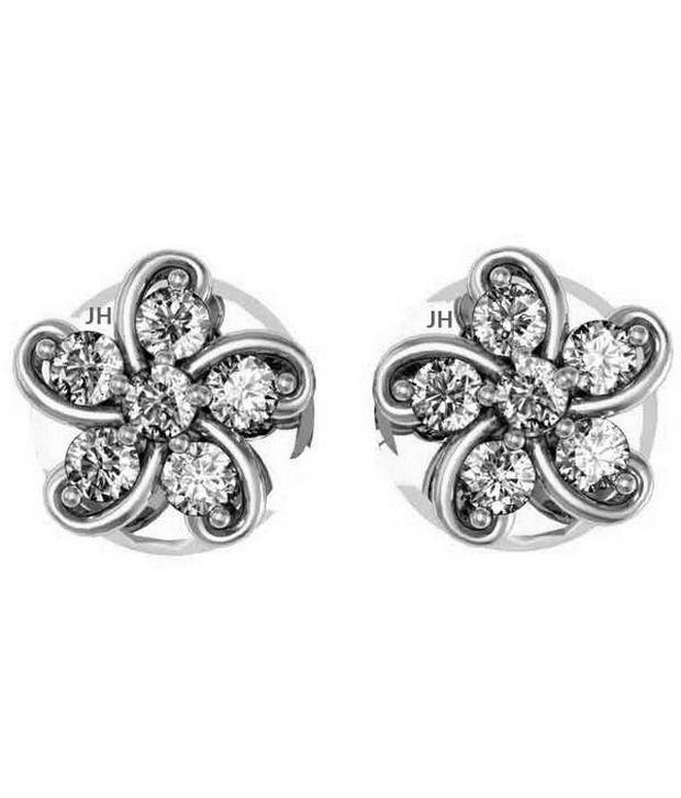 Jewel Hub SI-IJ CERTIFIED  Diamonds Earrings 0.18 ct / 1.49  gm Sterling Sliver 925