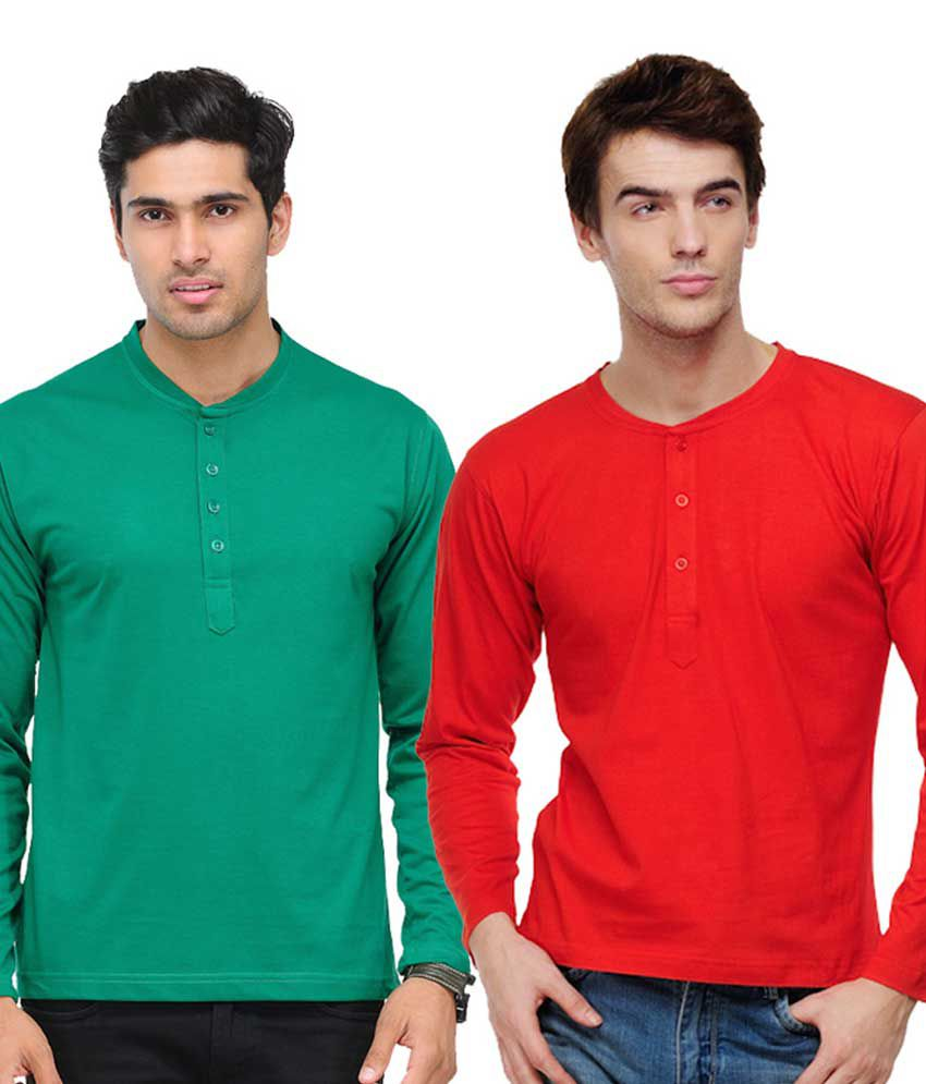 TSX Green & Red Full Sleeves T-Shirts Pack of 2