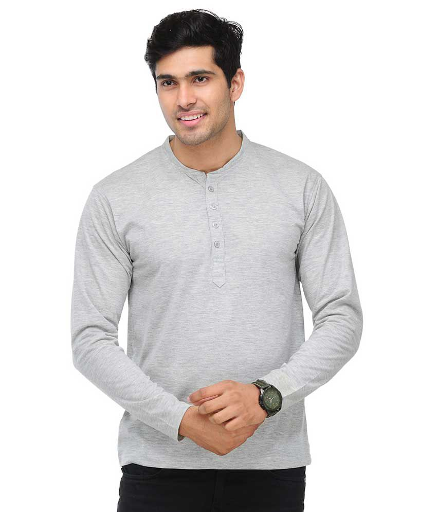 TSX Henley Full Sleeves Grey T-Shirt