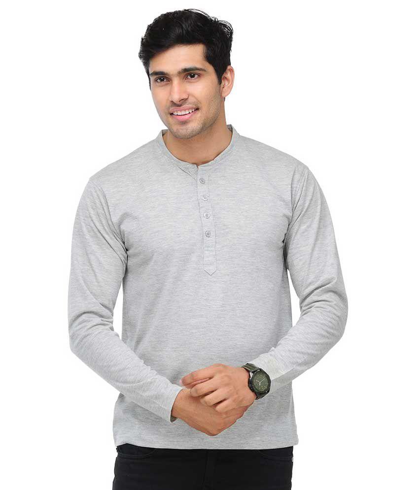 TSX Henley Full Sleeves Grey T-Shirt