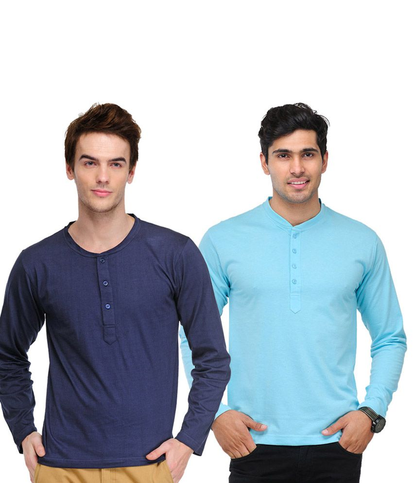 TSX Navy Blue & Sky Blue Full Sleeves T-Shirts Pack of 2