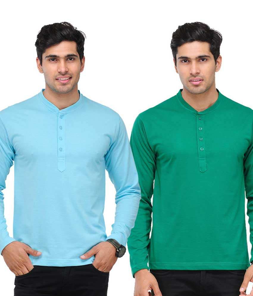 TSX Sky Blue & Green Full Sleeves T-Shirts Pack of 2