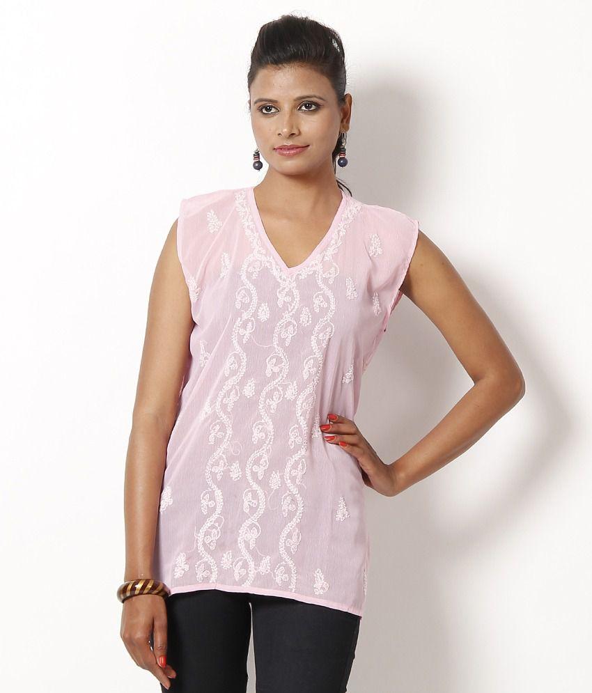 Dhakeshwari Pink Cotton Embroidered Kurti