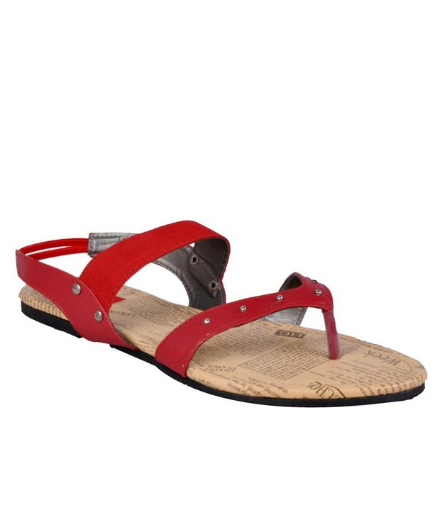 HM Elegant Red Flat Sandals