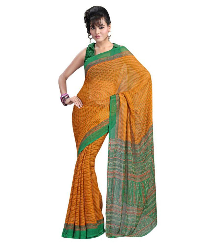 f91131d455 Triveni Yellow & Green Colour Casual Printed Chiffon Saree - Buy Triveni  Yellow & Green Colour Casual Printed Chiffon Saree Online at Low Price -  Snapdeal. ...