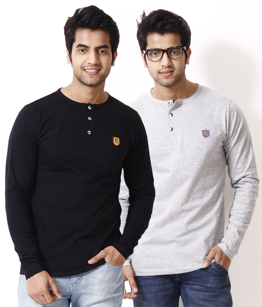 Free Spirit Pack of 2 Black-Gray Henley T Shirts