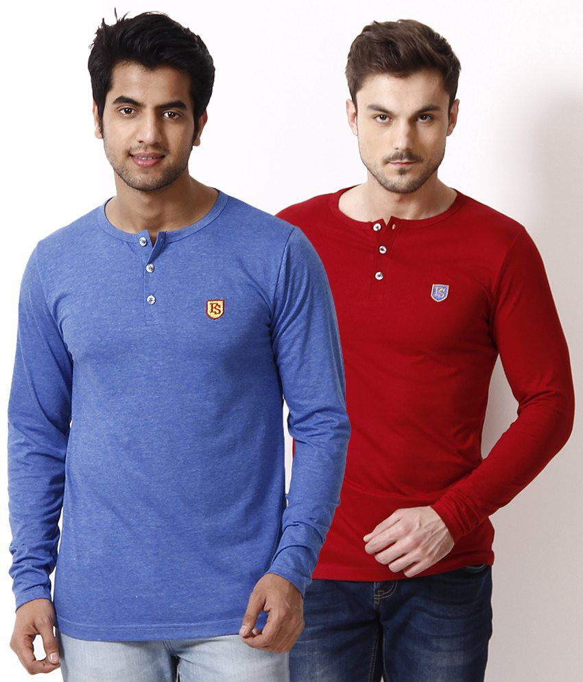 Free Spirit Pack of 2 Red-Blue Henley T Shirts