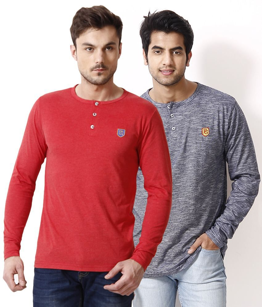 Free Spirit Pack of 2 Red-Gray Henley T Shirts