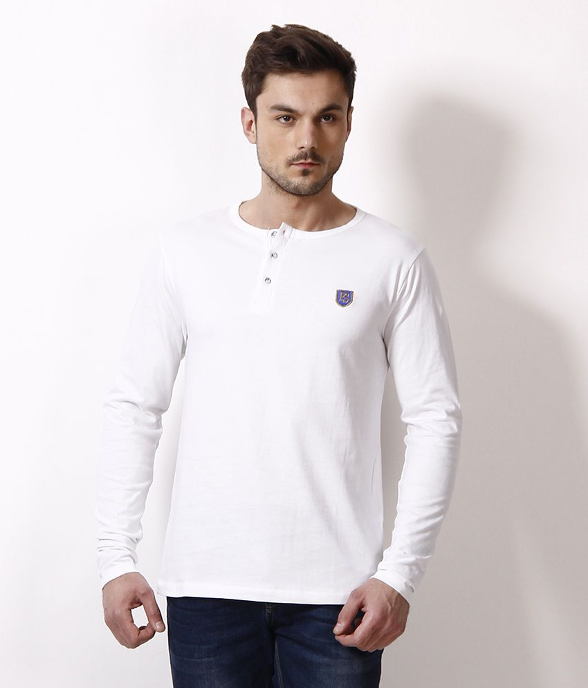Free Spirit Smart White Henley T Shirt