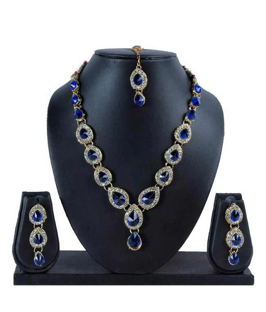 Designer Daily Wear Blue Colored Necklace Set