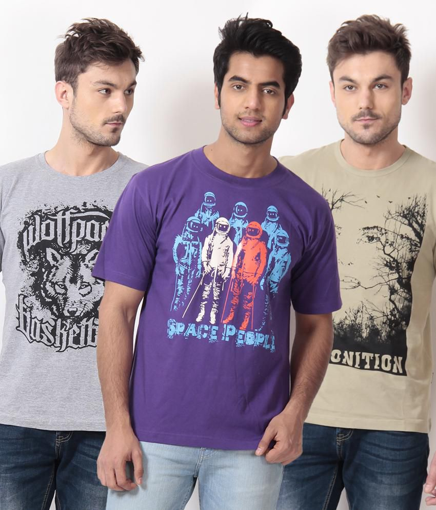 TSG Escape Gray-Purple-Khaki Pack of 3 Cotton T Shirts