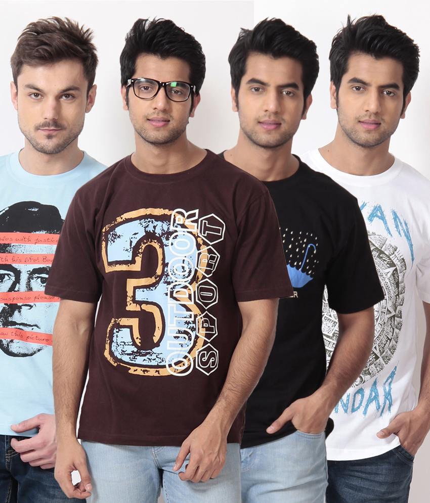 TSG Escape Multi Color T-Shirt -Pack of 4