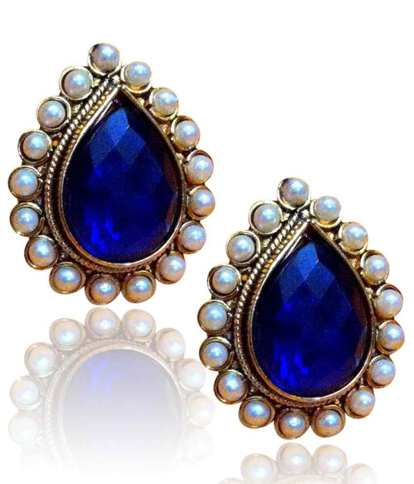 ume earrings mrinalinichandra blue products gemstone stone ghungroo