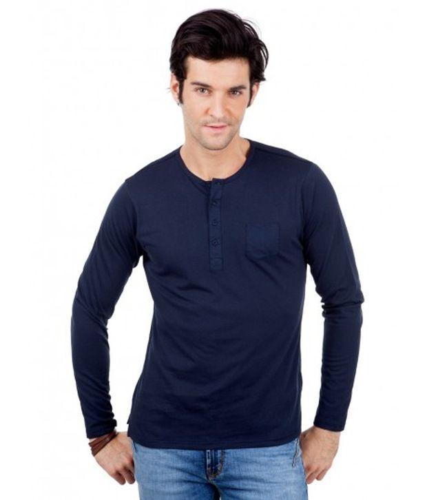 Freecultr Cool Navy Henley Basics T Shirt