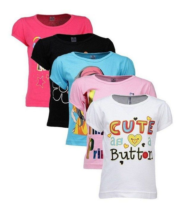 Goodway Attitude Themed Pack Of 5 T-Shirts For Girls (2 To 6 Years) For Infants